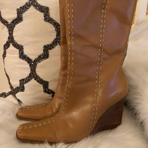 diba camel tan boots square toe mid height
